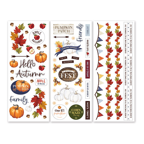 Hello, Autumn Stickers (3/pk) - Pre-Order