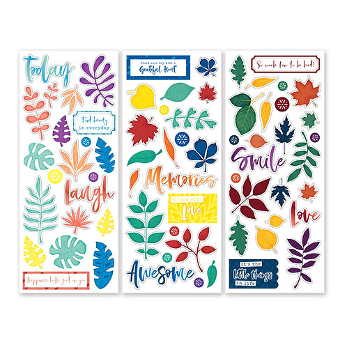 Rainbow Rush Leaf and Icon Stickers (3/pk)