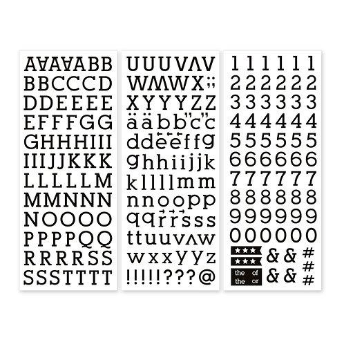 Black Serif ABC/123 Stickers (3/pk)