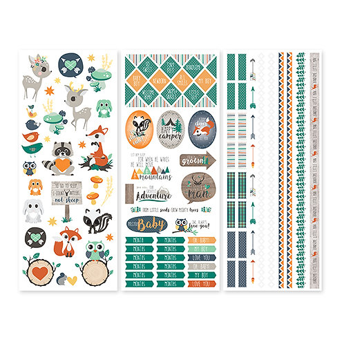 Woodland Whimsy Baby Boy Stickers (3/pk)
