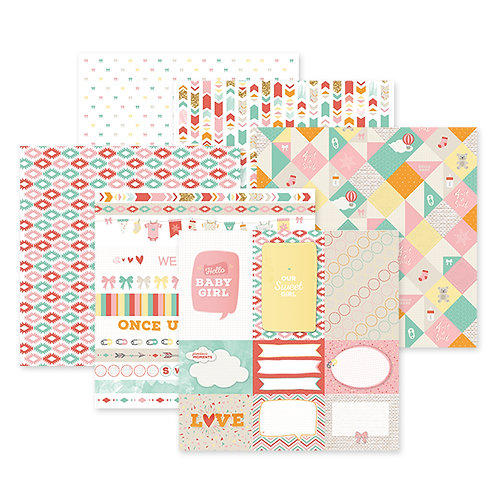 Hello Baby Girl 12x12 Paper Pack (12/pk)