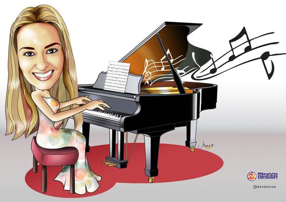 Caricatura Pianista