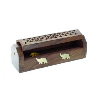 Wooden Elephant Incense Box
