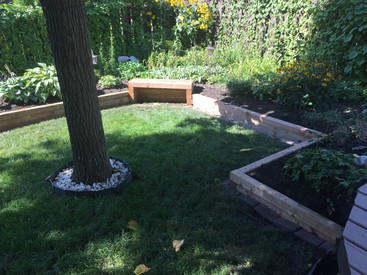 Wooden Bench and Retaining Walls