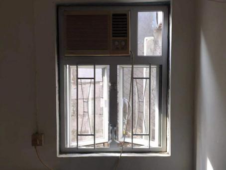 粉嶺 塘坑村 石屋 尞屋 鐵窗更換鋁窗 銀白色40料光片
