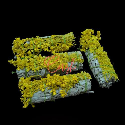 4 Pcs White Sage + Yellow Milacea Bundle Smudge