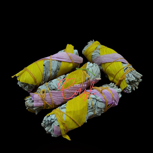 4 Pcs White Sage + Pink/Yellow Corn Bundle Smudge
