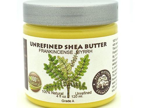 Unrefined Frankincense Myrrh Shea Butter calms and