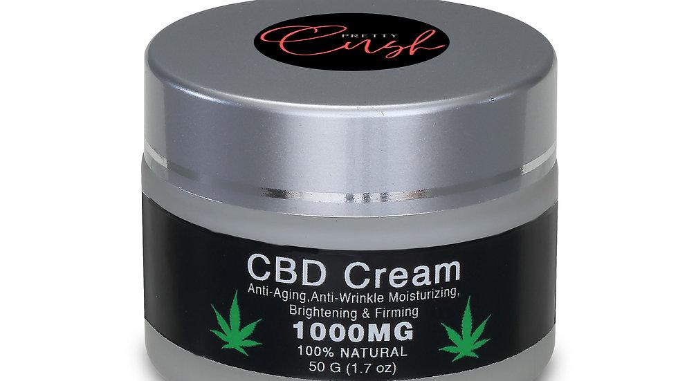 Pretty Cush Facial CBD Cream - Premium Grade - 1000MG CBD - 100% Natural - 50g