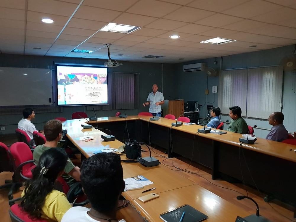Mahseer Trust's Adrian Pinder addresses researchers from the Wildlife Institute of India in Dehradun, discussing mahseer conservation throughout India