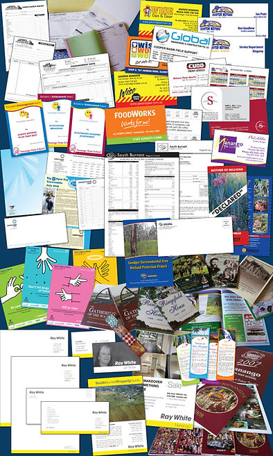 print, design, signs, letterheads, business cards, envelopes, posters, invoice books, brochures, tags, flyers, menus, carbonless, stickers, pads, loyalty, promotional