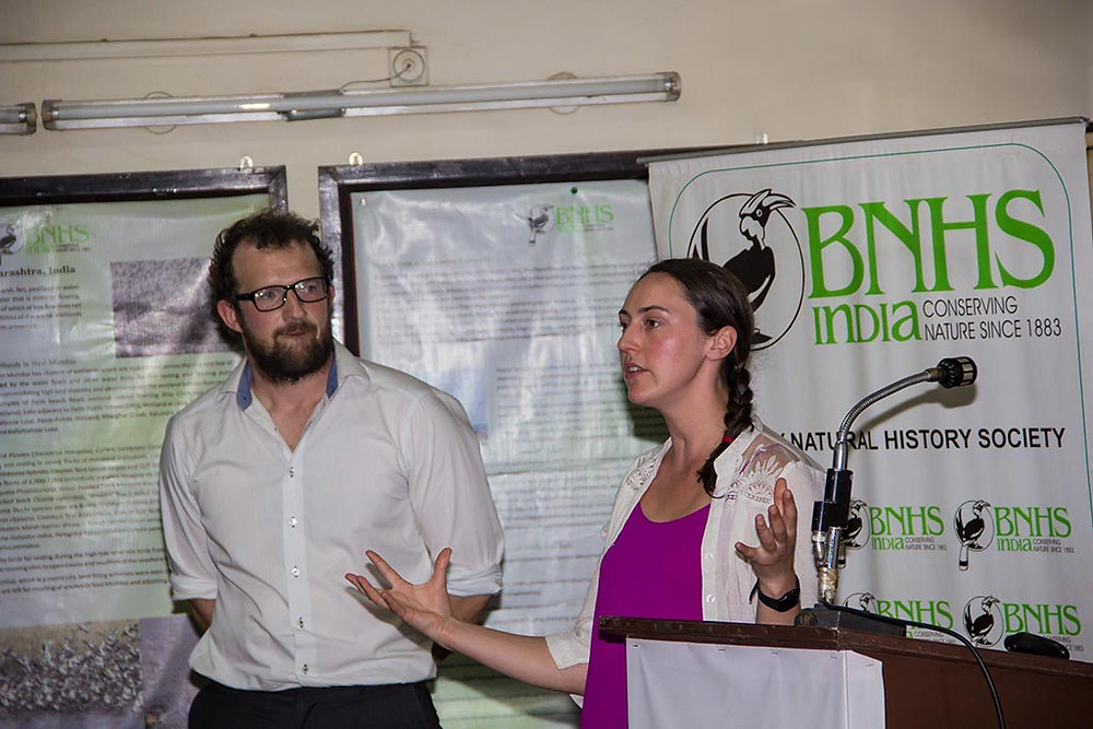 Dr Catherine Gutmann Roberts and Thomas Stamp presenting at Bombay Natural History Society