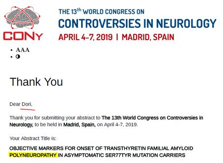 CONy חילוקי דעות בנוירולוגיה - מדריד - אפריל 2019
