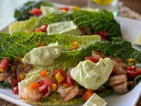 A taste of Mexico: You will want to eat these blackened shrimp lettuce wraps poolside.