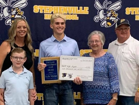 Kyle Styron receives first scholarship in honor of the late SHS baseball player Eric Everett.