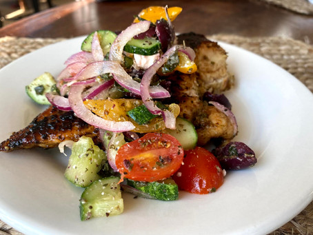Big delish: The marinade for this Mediterranean topped grilled chicken is worth the wait.