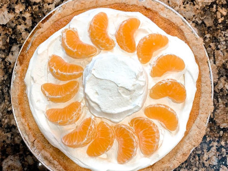 This tasty orange buttermilk pie will jazz up your day. And isn't it pretty?