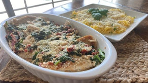 Enjoy a taste of Tuscany with creamy garlic chicken and herbed spaghetti squash with parmesan.