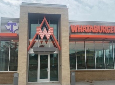 Whataburger gives Tarleton a big nod with outdoor signage. Oh, and the new restaurant opens soon.