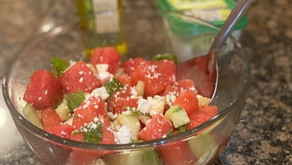 This watermelon salad with feta and cucumber is my new fave. You will love it too!