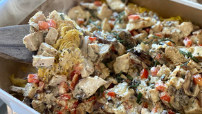 Comfort food for you back-to-schoolers. Think turkey tetrazzini and 'no guilt' green bean casserole.
