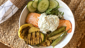 Grilled salmon tzatziki bowl offers great source of protein and lots of flavor.
