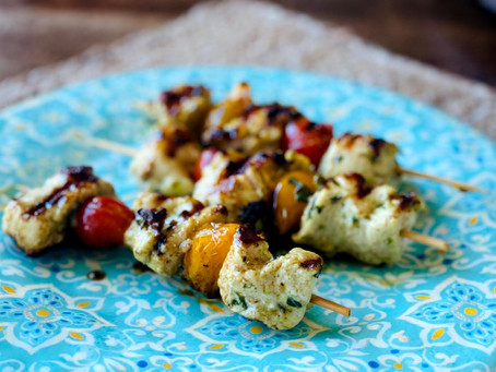 Lean and green: Grilled pesto chicken kabobs and avocado chicken salad are family faves.