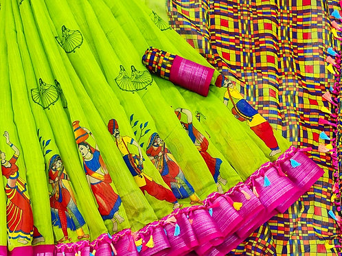 Dhandya Kalamkari Digital Print Soft Linen Saree