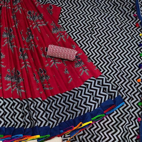 Handloom Soft Cotton Banaras Zari - 7