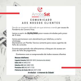 COVID-19 - Comunicado aos nossos clientes