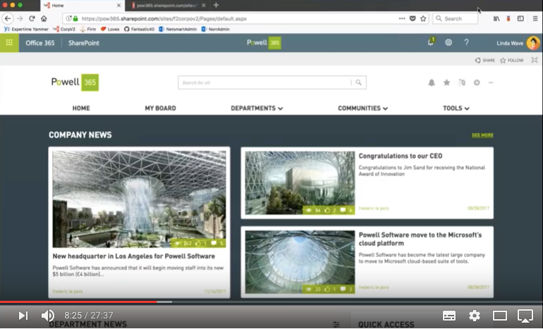Intranet design and features - Demo 1