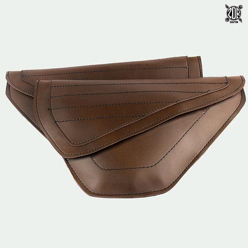 Flat Linear Sewing Brown Side Bag (pair)