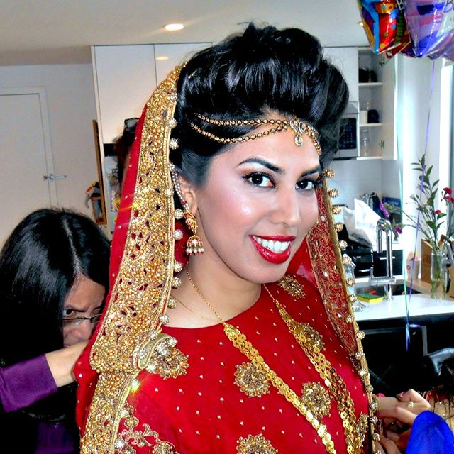 A stunning bride only slightly enhanced by #makeupbyme #nycmakeup #brooklynbride #pakistanibride #br