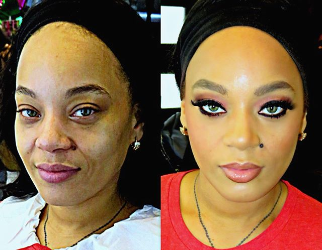 Gorgeous #beforeandafter_#birthdaymakeup #30thbirthday #birthdaypartymakeup #betterwithage_#fenty fo