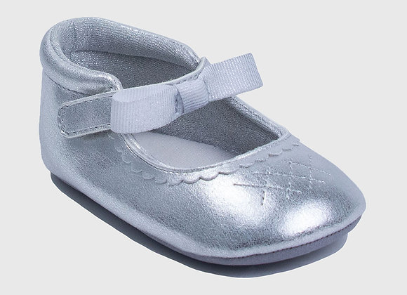 ro + me Silver Valerie Mary Jane Baby Shoes