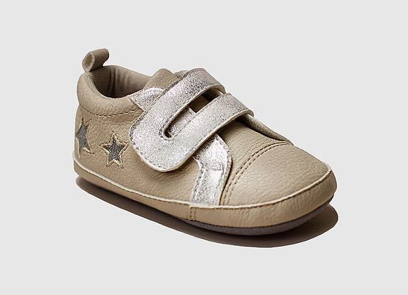 ro + me Taupe Glitter Athletic Baby Shoes
