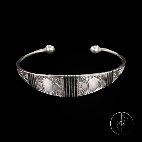 Bracelet touareg plat avec inclusions bois