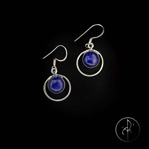 Boucles d'oreilles lapis lazuli rondes