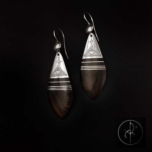 Boucles d'oreilles bois précieux