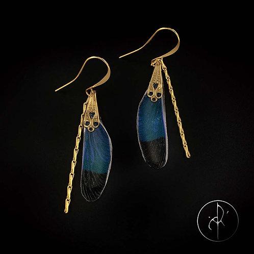 Boucles d'oreilles libellule bleue