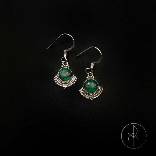 Boucles d'oreilles indiennes Malachite