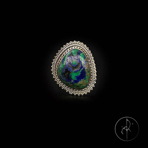Bague indienne azurite malachite