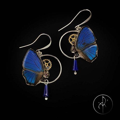 Boucles d'oreilles papillon bleu électrique