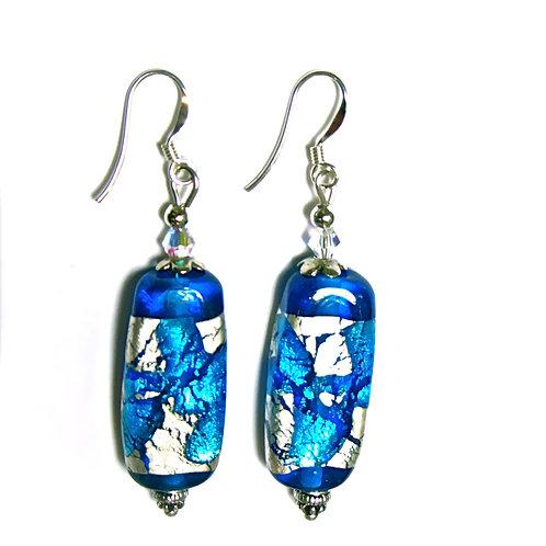 Silver Foil Blue Glass Earrings