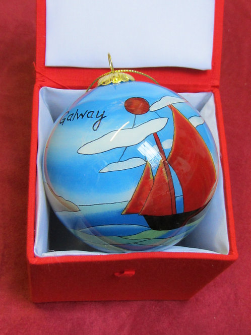 Galway hooker boat glass bauble in red box
