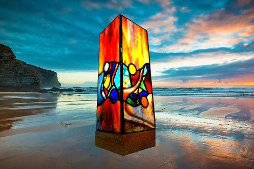 Reflections stained glass art lamp