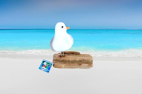 handmade fused glass seagull bird on driftwood
