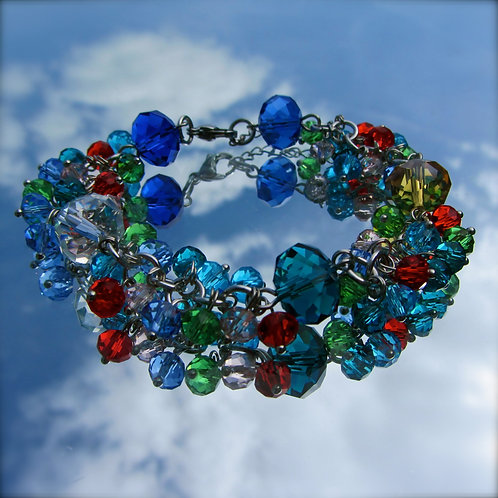 glass crystal bead bracelet handmade in ireland
