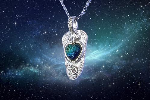 Celtic Heart Glass Pendant