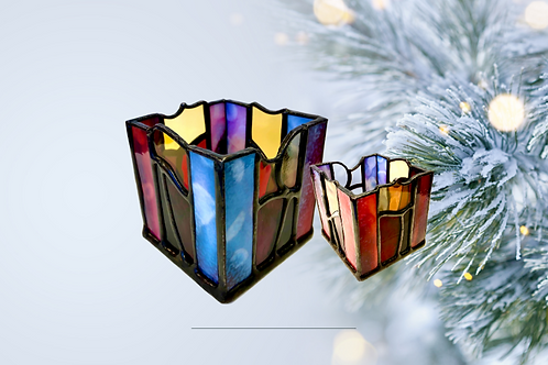 stained glass festive candle holders